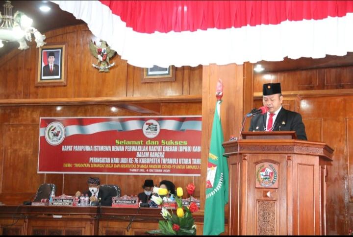 Tarutung : Bupati Hadiri Rapat Paripurna DPRD, Hari jadi ke 76 Kabupaten Tapanuli Utara